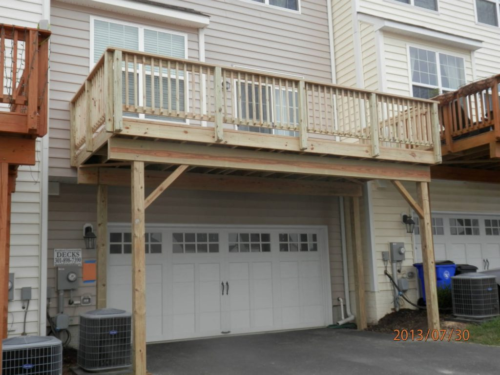 Townhouse Wood Deck Over Driveway Pressure Washing And Home Renovations Frederick Md
