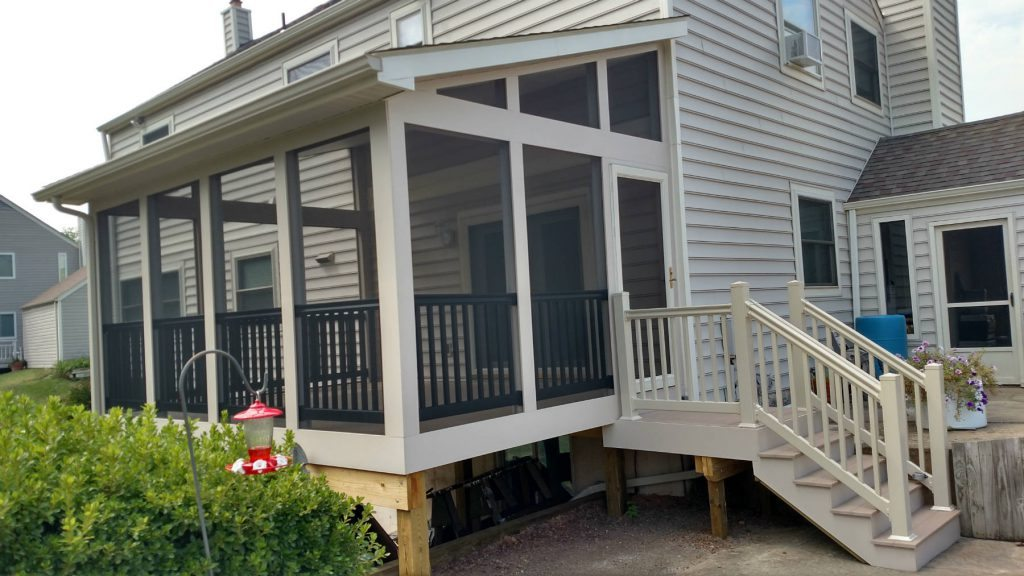 Tan Screened Porch with Black Vinyl Rails- Deck Builder Frederick MD