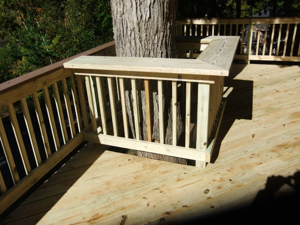 Wood Deck with Wood Rails. Built in Lake Linganore