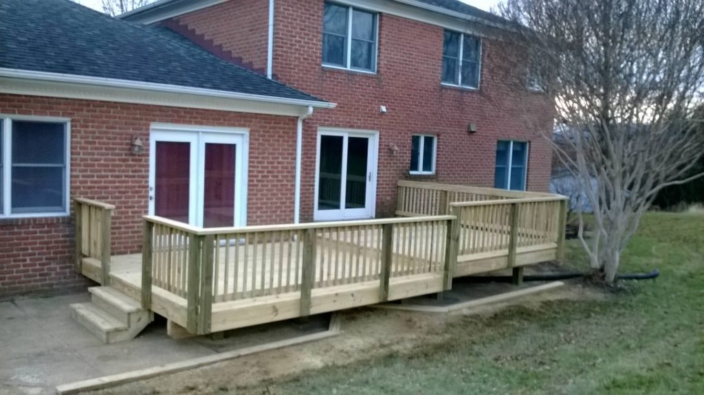 Wood Deck with Wood Rails. Built in Spring Ridge