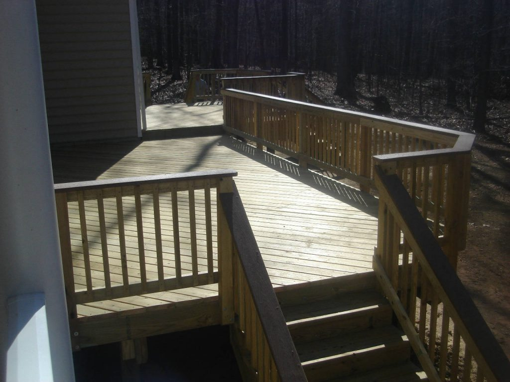 Wood Deck with Wood Rails. Built in Union Bridge- Deck Builder & Home Renovations Frederick MD