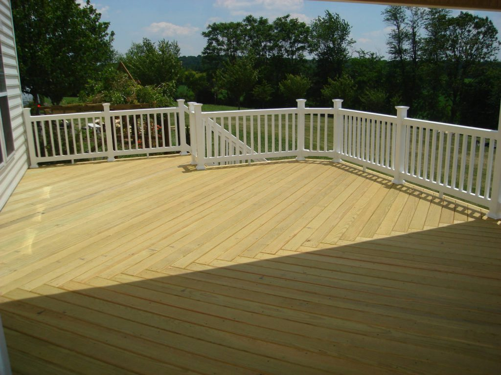 Wood Deck with Vinyl Rails- Deck Builder & Home Renovations Frederick MD