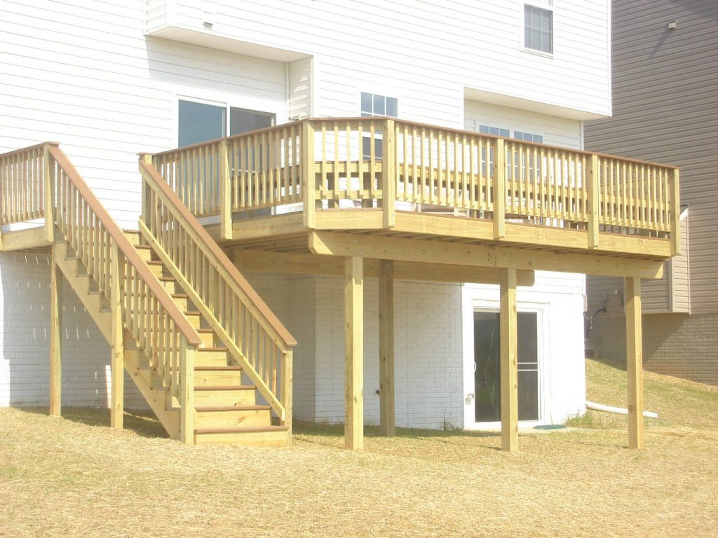 Wood Deck with Wood Rails- Deck Builder Frederick MD